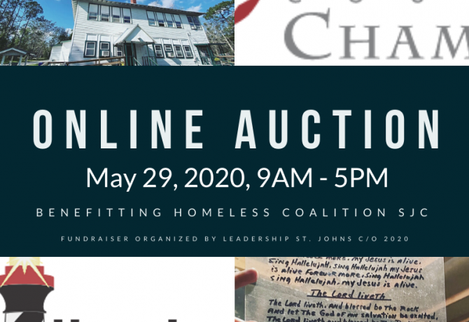 graphic for may online auction for the homeless coalition in st johns county