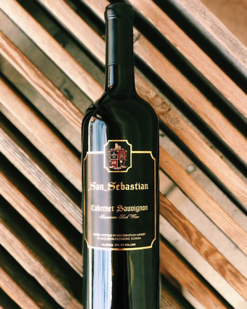 a bottle of cabernet sauvignon at san sebastian winery in st augustine