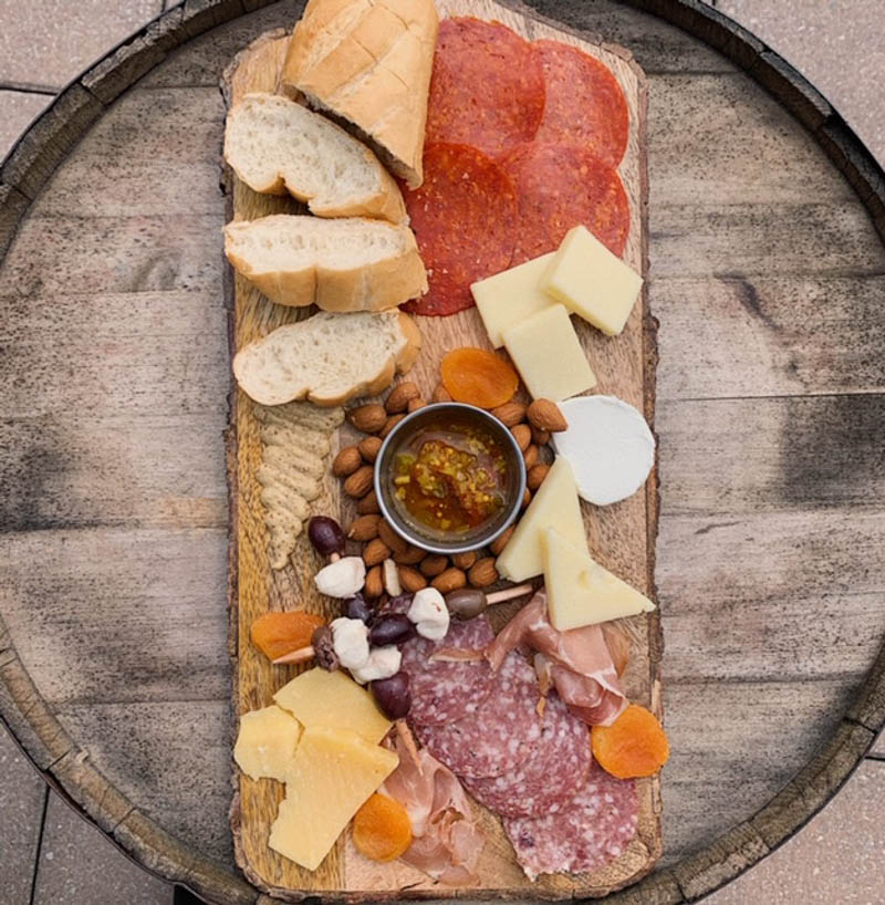 a meat and cheese board at san sebastian winery's cellar upstairs in st augustine