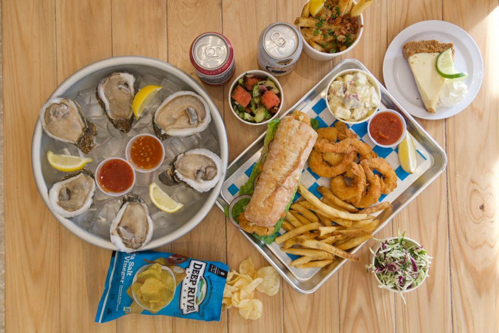 overhead shot of food from st augustine seafood company