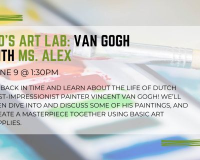 graphic for kids art lab van gogh st johns county public library