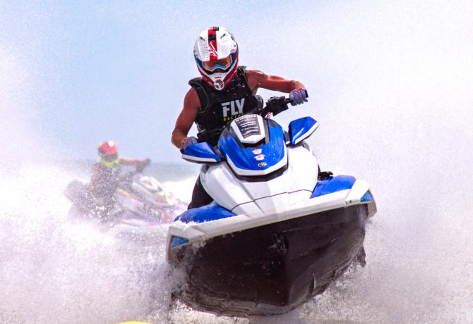 a competitor in The Liqui Moly ProWatercross National Tour on the water in daytona beach
