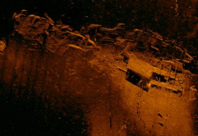 sonar image of a world war II wreck in st augustine florida