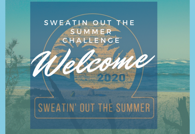sweatin out the summer challenge logo and graphic