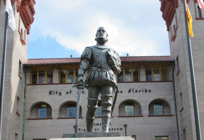 statue of ponce de leon in front of the st augustine city hall