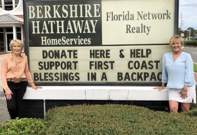 From left, Founder and Chairman Linda Sherrer and First Coast Blessings in a Backpack Managing Director Susan Evans.