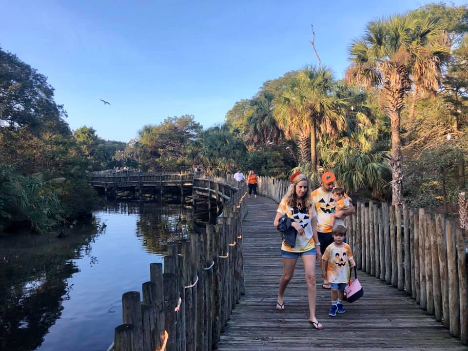 Family enjoys trick or treating at St. Augustine Alligator Farm for the Creatures of the Night Halloween celebration.