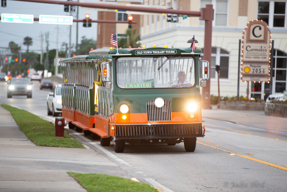 The Old Town Trolley brings guests around downtown St. Augustine for the First Friday Artwalk